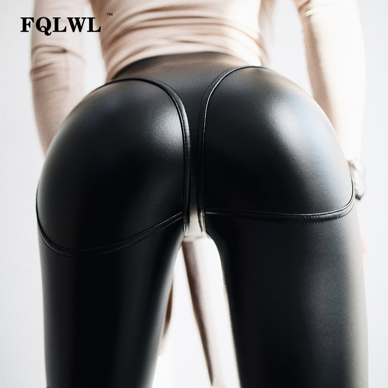 FQLWL Sexy PU Leather Pants Women Trousers Black High Waist Pants Female Hip Push Up Stretch Skinny Pencil Pants Ladies Leggings