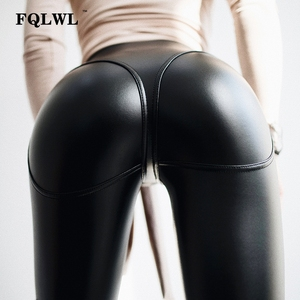 Image 1 - FQLWL Sexy PU Leather Pants Women Trousers Black High Waist Pants Female Hip Push Up Stretch Skinny Pencil Pants Ladies Leggings