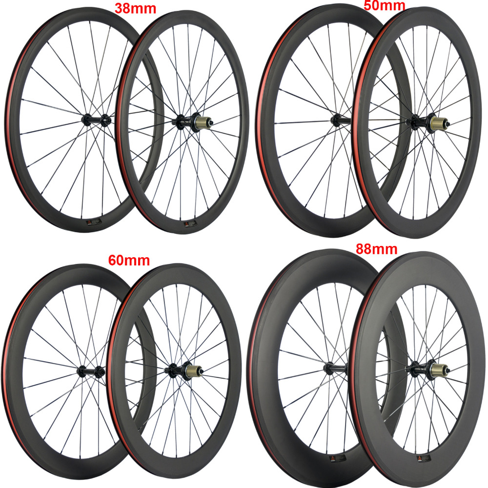 700C Carbon Wheels Customized logo 38mm 50mm 60mm 88mm Carbon Bicycle Wheels Clincher Road Bike Carbon