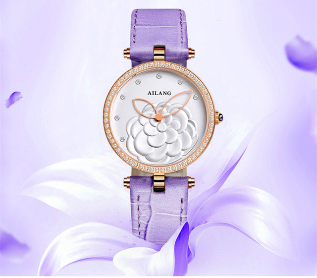 Romantic Camellia Floral Watches ELegant Women Candy Colors Real Leather Wrist watch Luxury Crystals Party Dress Timepiece W040