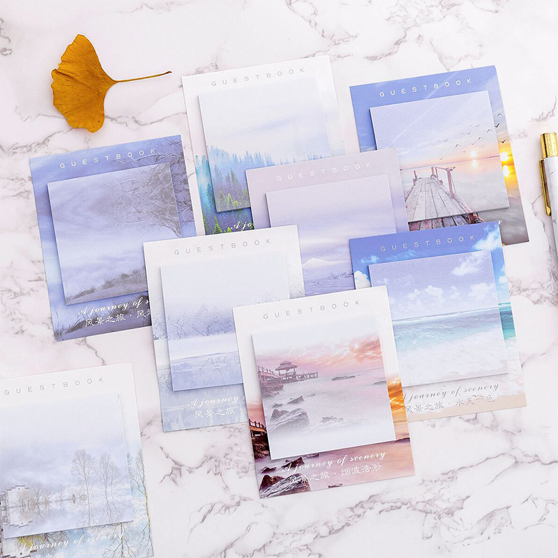 1 Pcs Travel Landscape Memo Pad N Times Sticky Notes Escolar Papelaria School Supply Bookmark Label Stationery