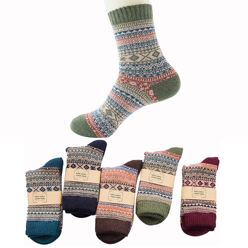 MOBTRS Vintage Mens Wool Socks Warm Fashion Diamond Rabbit Cute In Tube Socks Male Therm ...