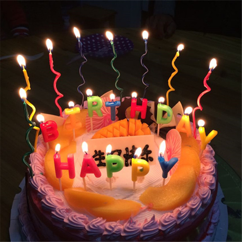 2set16pcs Long Curve Cake Candles Mix Color Birthday Candle Wedding Party Supplies 15 05 03cm In From Home Garden On