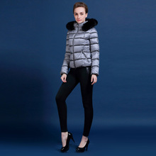 European brand MISUN women Winter white duck down jacket fox fur collar hit the color gray white and black jacket  XS-XL M195A