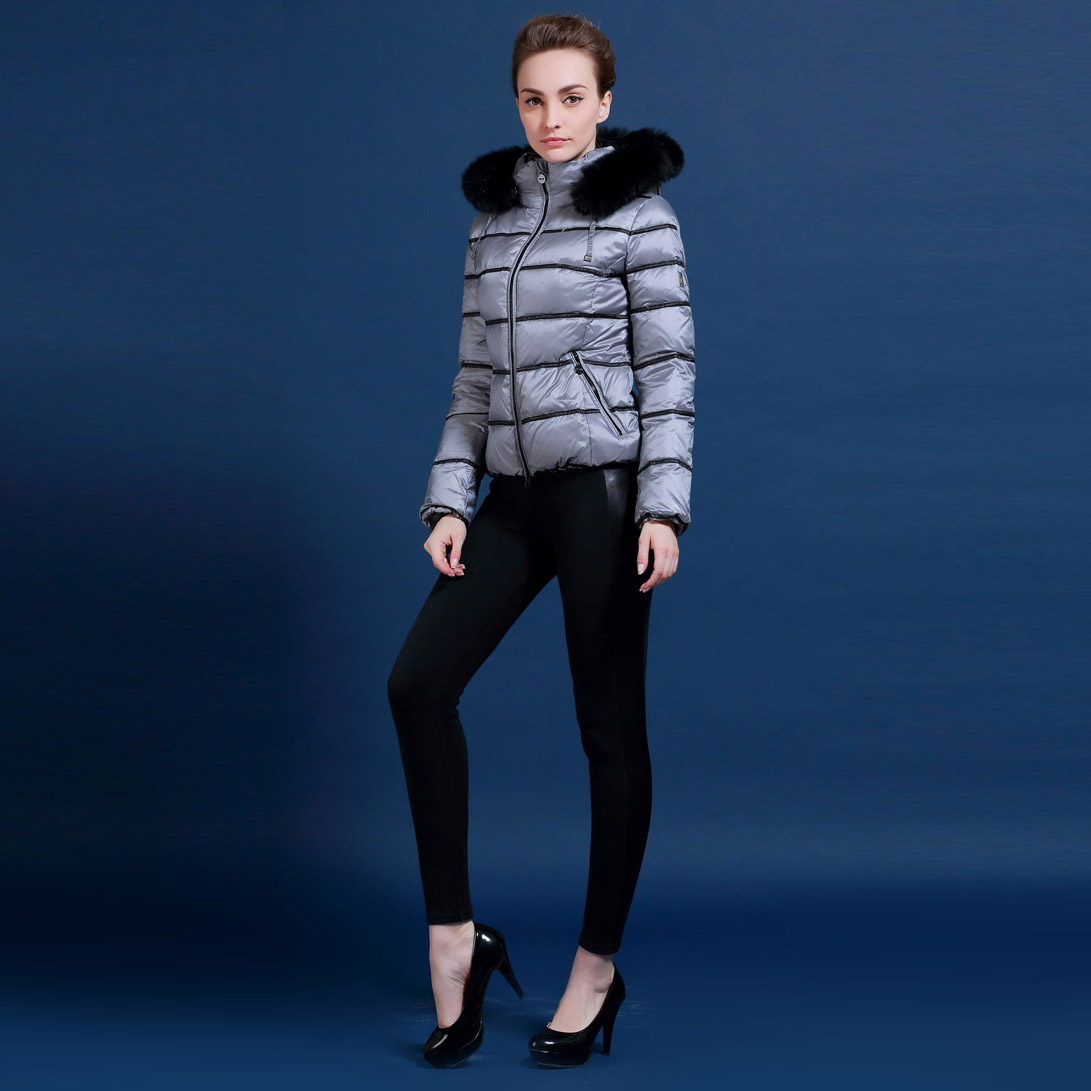 Rusko a Evropa značky ženy zimní bílá kachna sako liška kožešinový límec hit barva šedá bílá a černá bunda XS-XL M195A