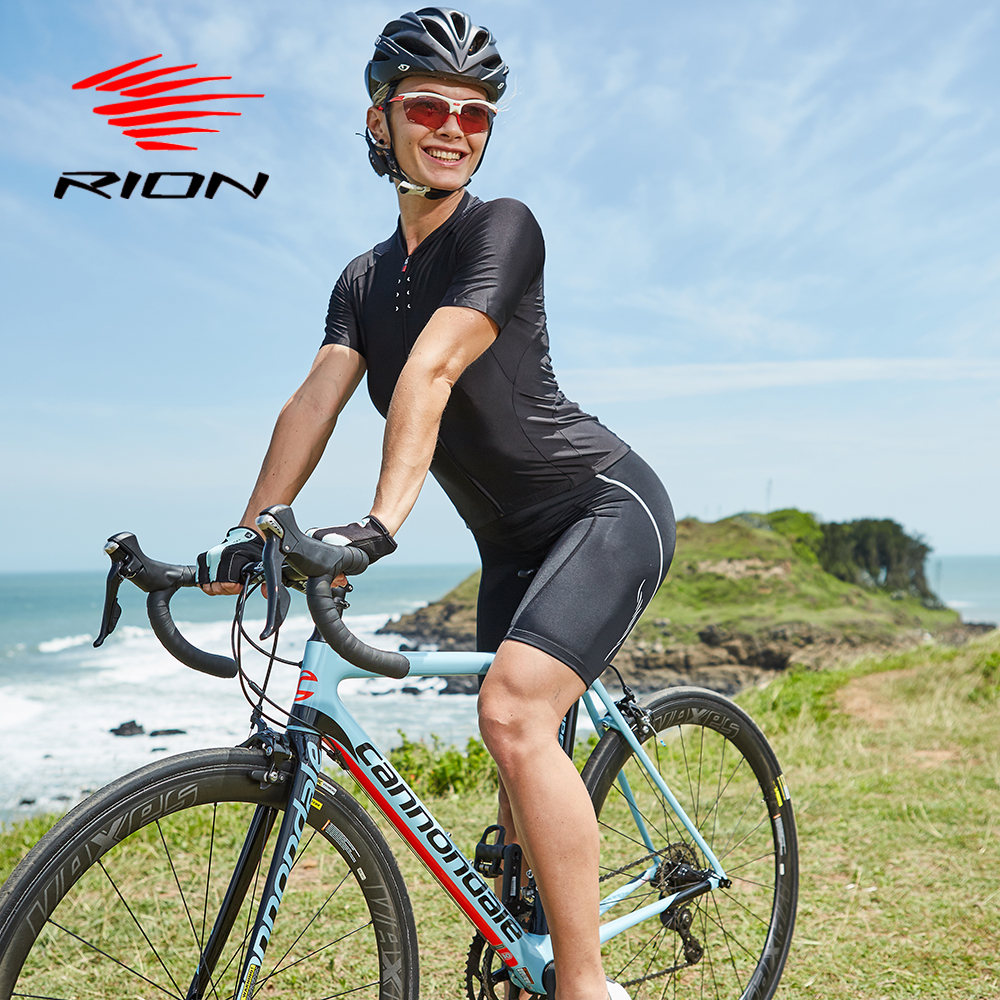 RION Women Cycling MTB Shorts Sports Anti-sweat Bicycle Mountain Bike Free Downhill Vtt Pro Gel Padded Black Tights Underwear