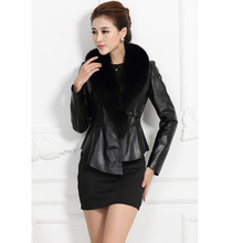 2016 Fashion real leather fur jacket with fox fur collar sheepskin genuine leather fur coat clothing female fashion outwear