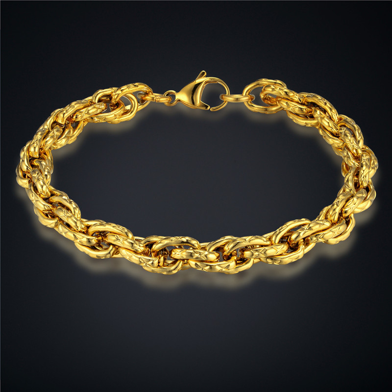 Mens Bracelet Stainless Steel Male Bracelets Wholesale Braslet Man Silver/Gold Color Rope Chain Link Bracelet For Men Jewelry