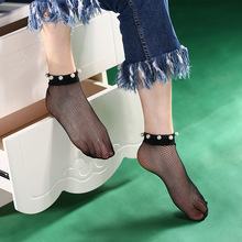 1Pair Transparent Women Sexy Pearl Beads Lace Fishnet Ankle Breathable Sock High Sheer Mesh Fish Net Short Socks