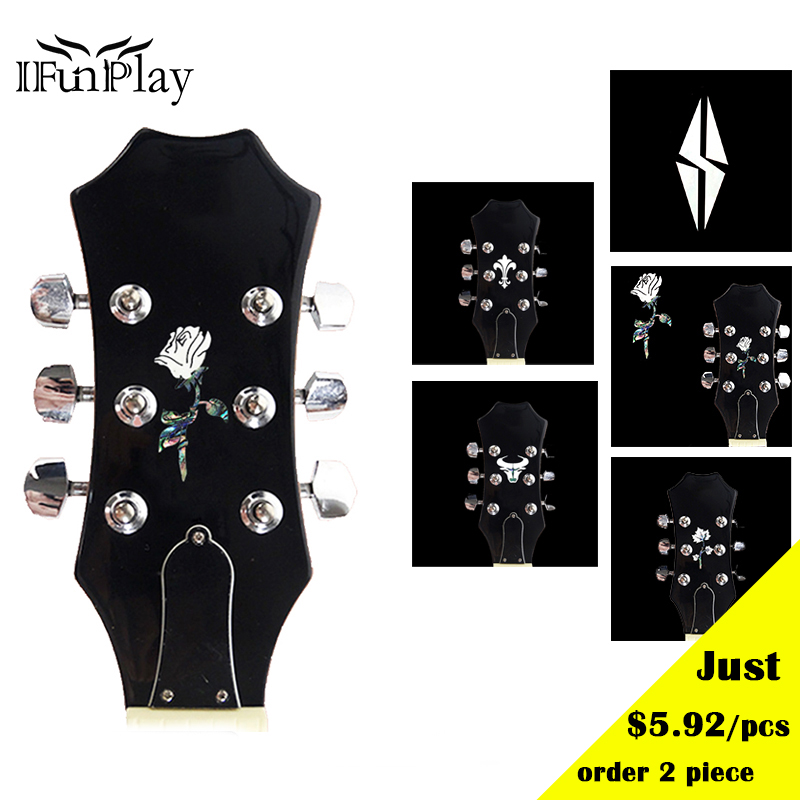 diy guitar head inlay sticker guitar headstock decal abalone shell decals stickers for acoustic. Black Bedroom Furniture Sets. Home Design Ideas