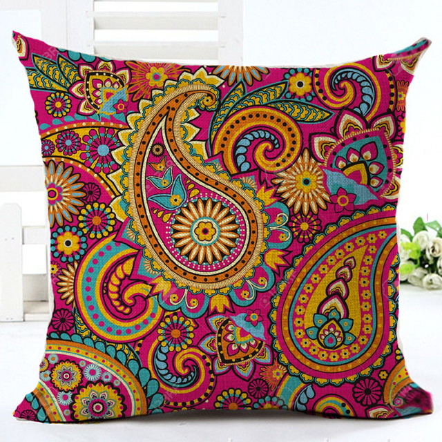 Woven Linen Paisley Cushion Cover