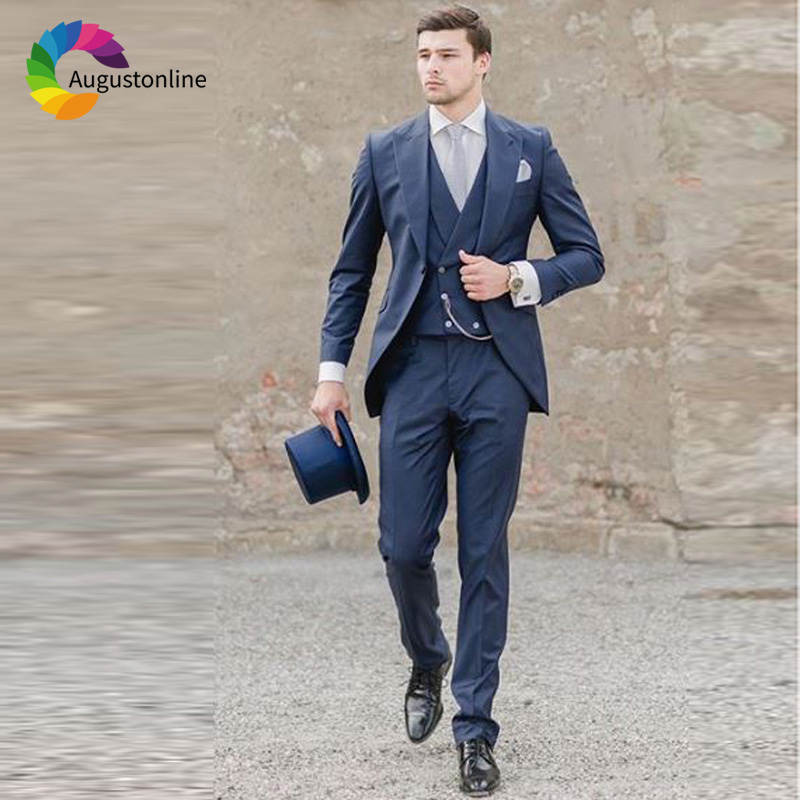 Navy Blue Italian Men's Classic Suits Wedding Groom Tuxedos 3 Pieces (Jacket+Pants+Vest) Bridegroom Suits Best Man Blazer Ternos