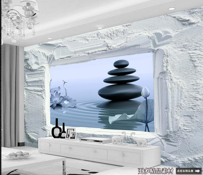 3d Wallpaper Kustom Dalam 3 D Ruang Di Luar Lake Tampilan Televisi