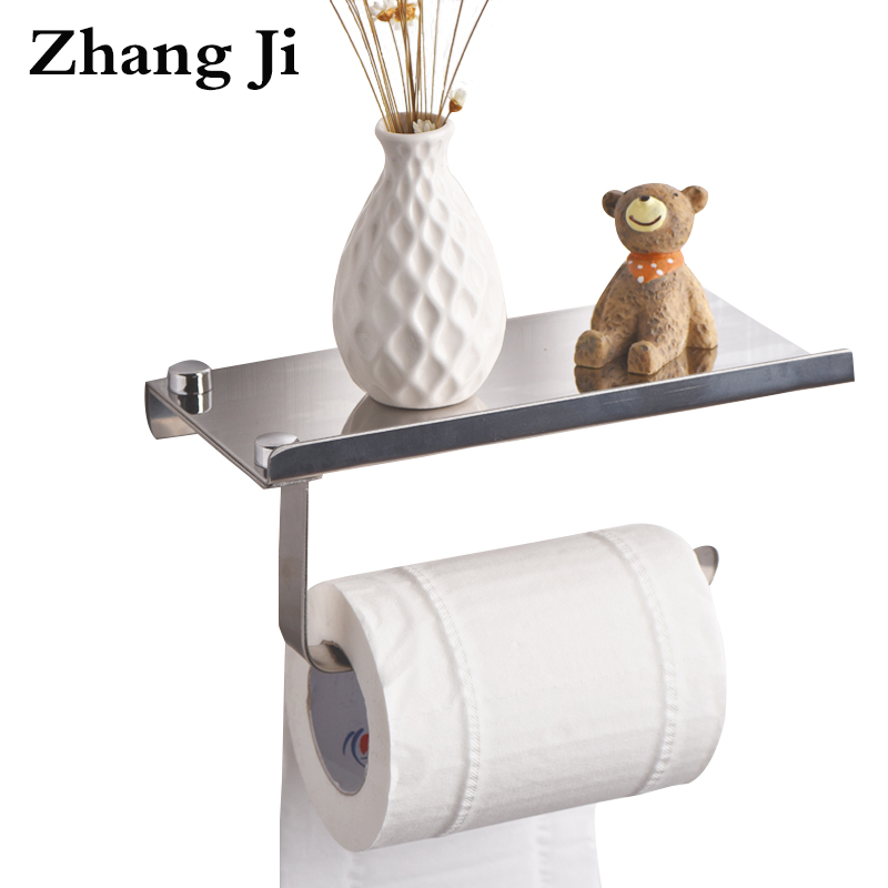 ZhangJi Concise Wall Mount Toilet Paper Holder with Phone Shelf Bathroom Stainless Steel Roll Paper Holder Mobile Phone Rack