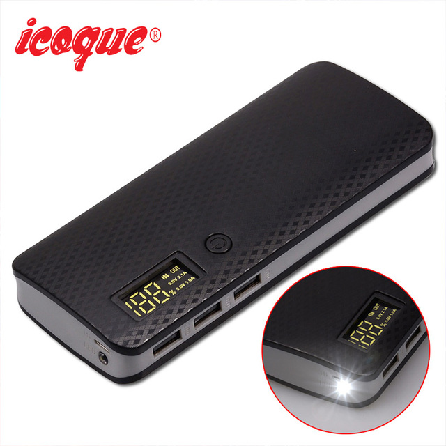 18650 Power Bank 10000mah (No Battery) DIY Case Phone Charge Box LED Flashlight Poverbank 3 USB 5x18650 Powerbank Pover Bank