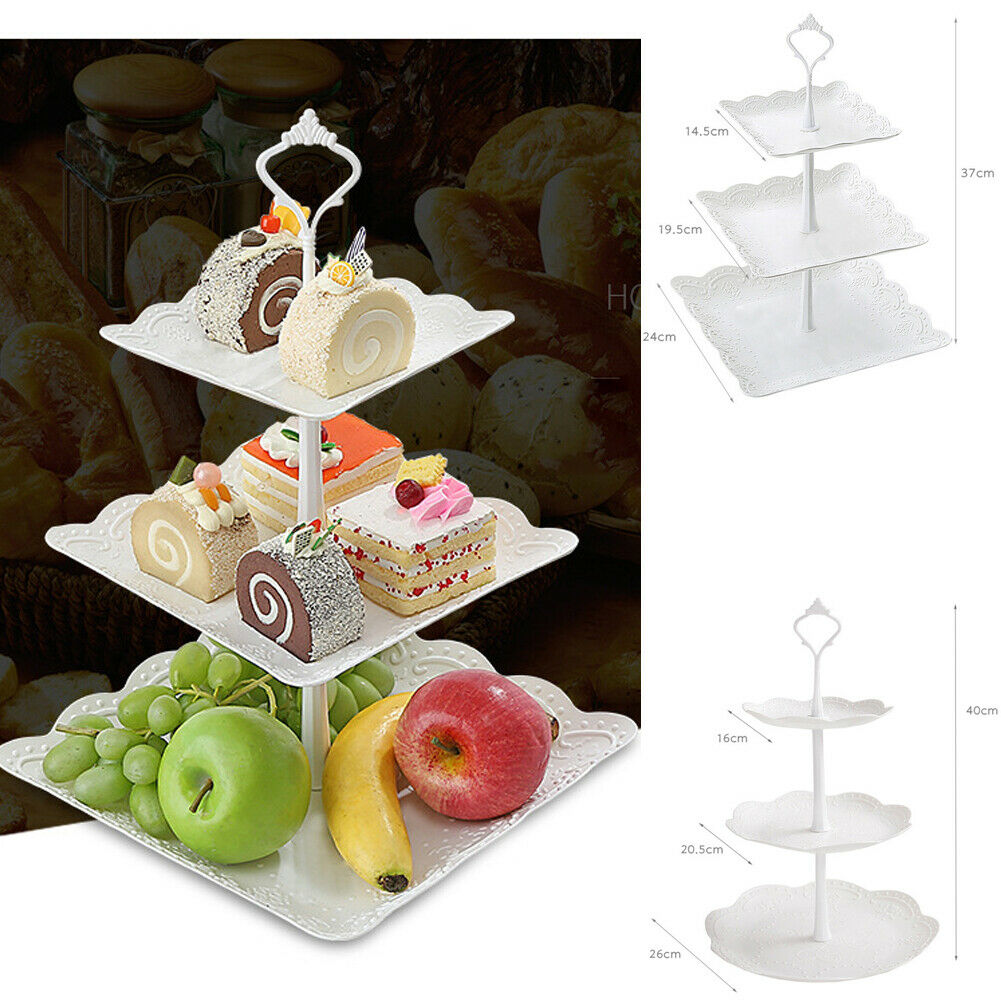 3 Tier Plastic Cake Stand Afternoon Tea Wedding Plates Party Tableware Bakeware Cake Shop Three Layer Cake Rack Storage Tray