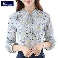 Camisa mulheres verão 2017 mulher blusa de chiffon de manga longa new arrivals moda casual clothing impressão floral tops das mulheres amarelo