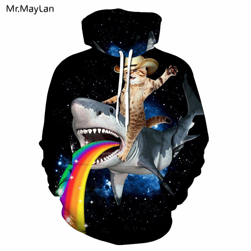 Animal Shark Rainbow Cute Cat 3D Print Jacket Hoodies Men Women Hip Hop Pullover Sweatshirts Boys Fashion Tracksuit Clothes 5XL in Hoodies amp Sweatshirts from Men 39 s Clothing