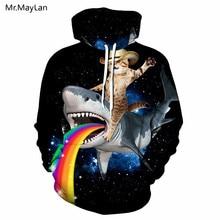 Animal Shark Rainbow Cute Cat 3D Print Jacket Hoodies Men/Women Hip Hop Pullover Sweatshirts Boys Fashion Tracksuit Clothes 5XL animal 3d print varsity stripe trim zippered men s jacket