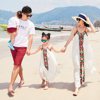Fashion Mother and Daughter Long Dress Embroidery Sleeveless White Dress Father Son Clothing Sets Family Matching Outfits