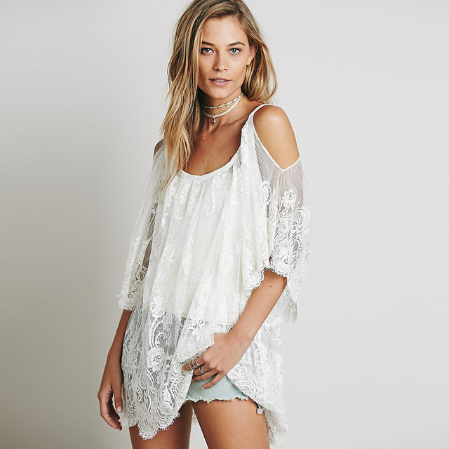 Vestidos 2017 Summer Dress Women O-Neck Sexy Strap Sheer Floral Lace Embroidered Crochet Hippie Mini Beach Dress