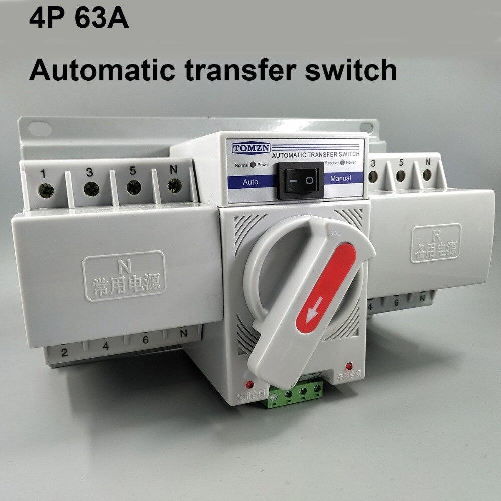 Tipo do mcb de 4 p 63a 380 v interruptor de transferência automático de potência dupla ats