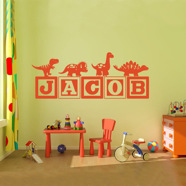 Brand New Boys Dinosaur Blocks Name Wall Decal Nursery Room Kids Vinyl Graphics Decor