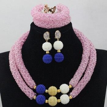 Pale Pink Crystal Mix Balls 2 Rows Bridal Jewelry Set African Jewelry Beads Set Nigerian Beads Jewelry Set Birthday Gift ALJ1012