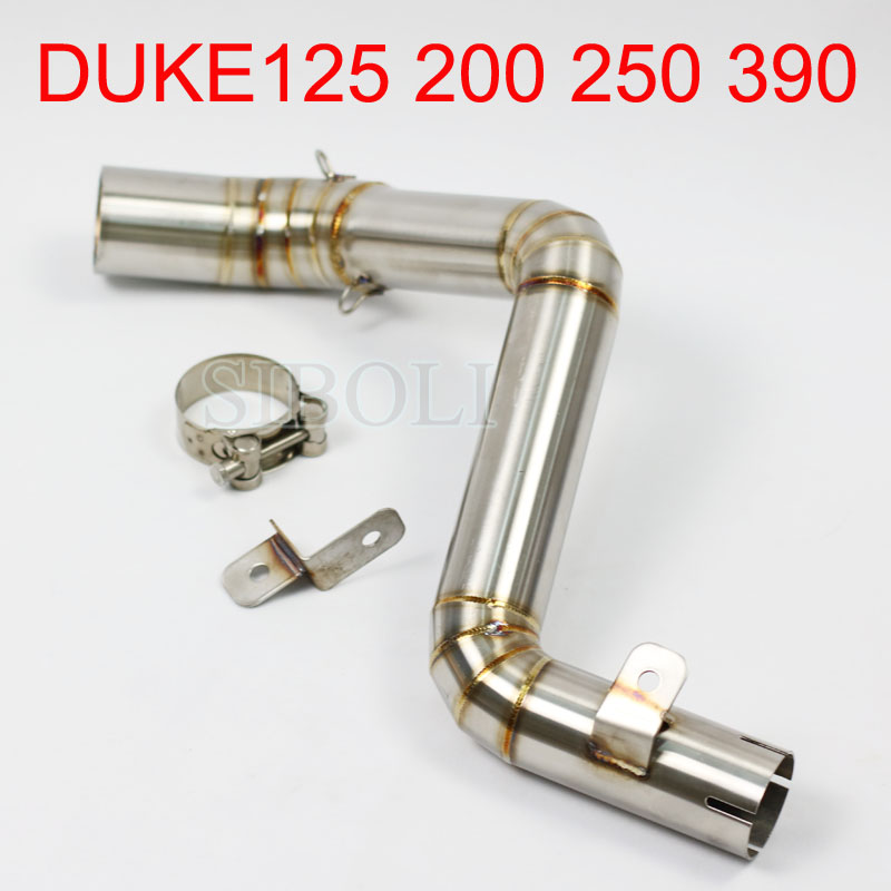 DUKE125 200 250 390 Motorcycle Exhaust Middle Pipe Exhaust Link Pipe For KTM DUKE 125 200 250 DUKE 390 2012 2013 2014 Year AK126 motorcycle rear brake master cylinder reservoir cove for ktm duke 125 200 390 rc200 rc390 2012 2013 2014