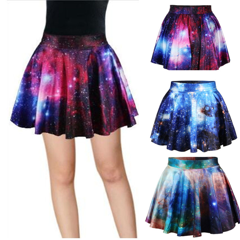 3D Print Galaxy Skirt Women High-Waisted Cratieve Cluster Space Galaxy Above Knee Mini Skirts Cotton Elastic Skirts