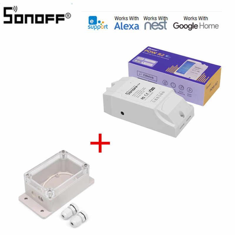 Sonoff Pow R2 16A Wifi interruptor inteligente con Monitor de mayor precisión uso de energía inteligente hogar Medición de energía funciona con Google A casa