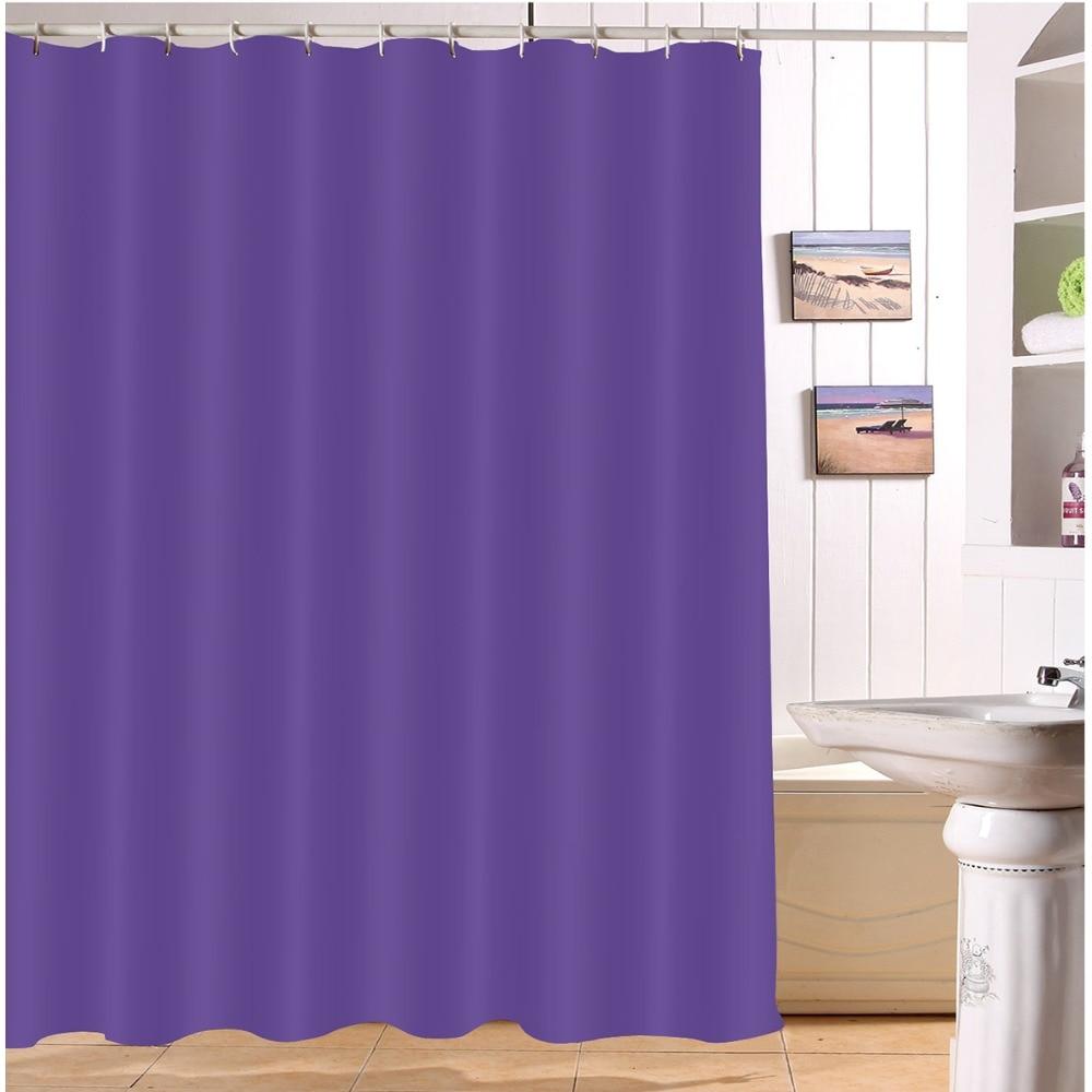 LB 180180 Waterproof Purple Shower Curtains Solid Polyester Print Bathroom Curtain Screens Fabric For Girl Bathtub Home Decor
