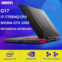 Bben G17 игровой ноутбук PC компьютер Intel I7 7700HQ Процессор Nvidia GDDR5 6G RAM GPU Windows 10 FHD1920 * 1080 механическая клавиатура RGB