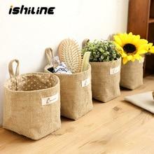Домашний декор, подвесная карманная корзина для хранения, маленький мешок, органайзер для мелочей, косметический Органайзер, хлопковая Льняная сумка для хранения