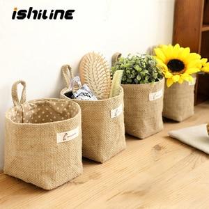 Home Decor Hanging Pocket Storage Basket Small Sack Sundries Organizer Cosmetic Organizer Cotton Linen Storage Bag(China)