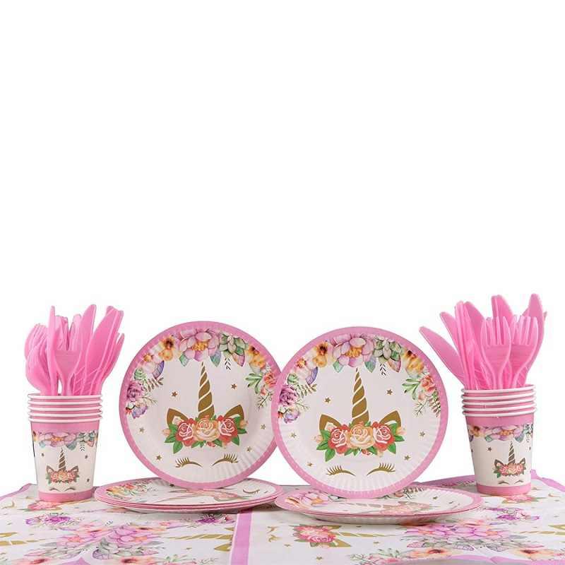 Tema Do Partido unicórnio Rosa Festival Fontes Do Partido Do Chuveiro Do Bebê Talheres Copos de Chapas de Guardanapos para o Casamento De Meninas Decoração