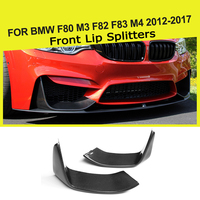 2PCS Carbon Fiber Front Bumper Lip Splitters Flap Cupwings for BMW 3Series F80 M3 4Series F82 F83 M4 2012 2018
