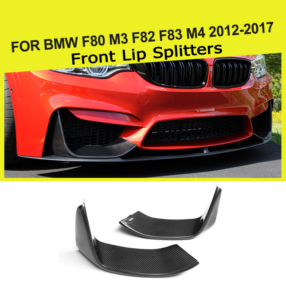 2PCS Carbon Fiber Front Bumper Lip Splitters Flap Cupwings for BMW 3Series F80 M3 4Series F82 F83 M4 2012 - 2018 image