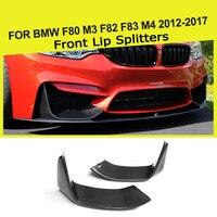 2PCS Carbon Fiber Front Bumper Lip Splitters Flap Cupwings for BMW 3Series F80 M3 4Series F82 F83 M4 2012 2018