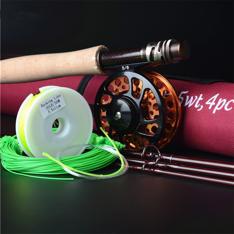 Hi.Whale New Carbon Fly Fishing combo Set 2.7 m 4 section fly rod line wt 5# fishing rod fishing supplies удочка good fishing nepalese tdg021 4 5 5 4
