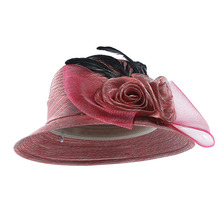 69dfc948b7508 2018 hilo Iglesia sombreros para las mujeres arco grande pluma flor Summer  Sun Protect sombrero sombreros elegantes boda mar pla.