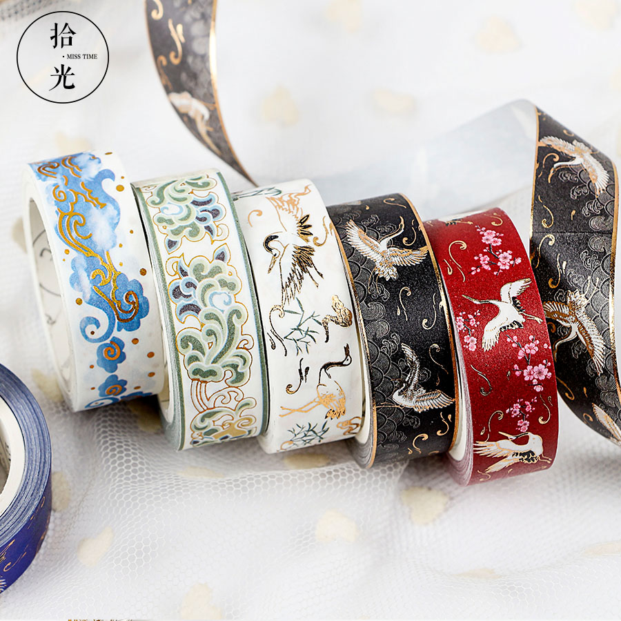 Chinese Retro Divine Gold Pattern Crane Gilding Washi Tape DIY Scrapbooking Sticker Label Masking Tape School Office Supply