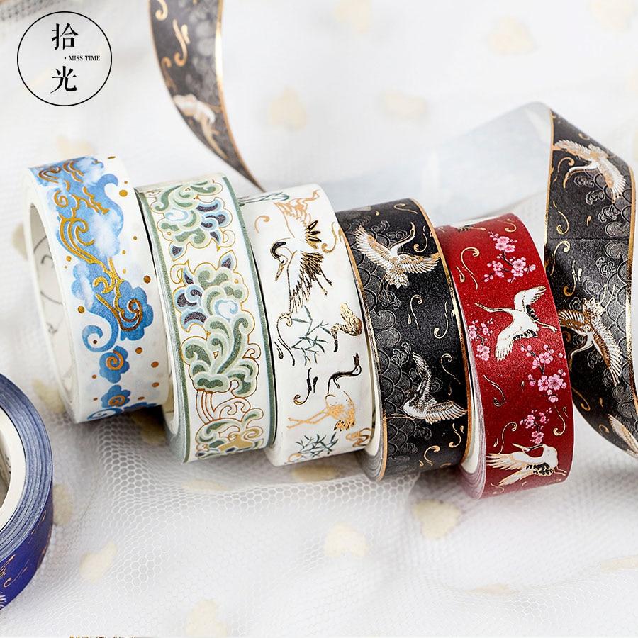 Chinese Retro Divine Gold Pattern Crane Gilding Washi Tape DIY Scrapbooking Sticker Label Masking Tape School Office Supply