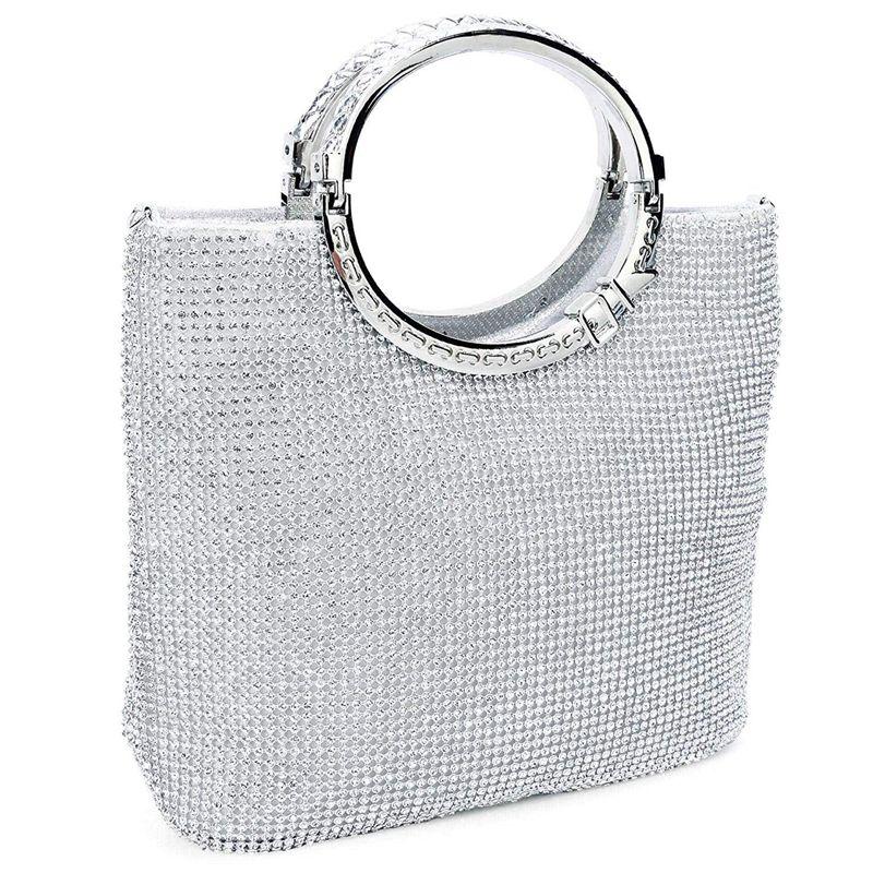 Women's Handbag Rhinestone + Satin Bag Evening Bags Wedding Clutch Purse(Silver)