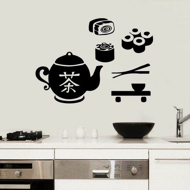 Sushi sticker japan food decal poster vinyl art wall decals pegatina quadro parede decor mural sushi