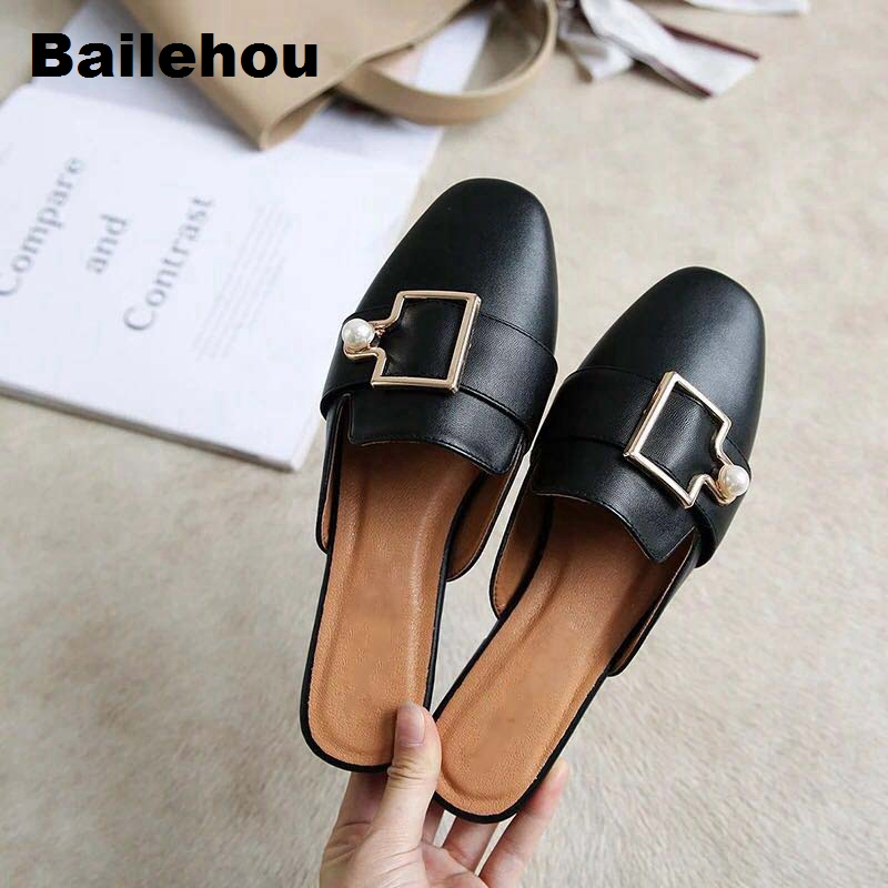 f941b478f11 Women Flat Summer Shoes Rivet Mule Slipper Slip On Loafer Low Heel Brand  Chain Buckle Female Slipper Comfort Work Shoes Big Size-in Women s Flats  from Shoes ...