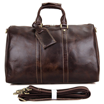 J.M.D Genuine Leather Travel Bags Man Tote Bag For Business Man Large Capacity Leather Bag For Laptop 7077C