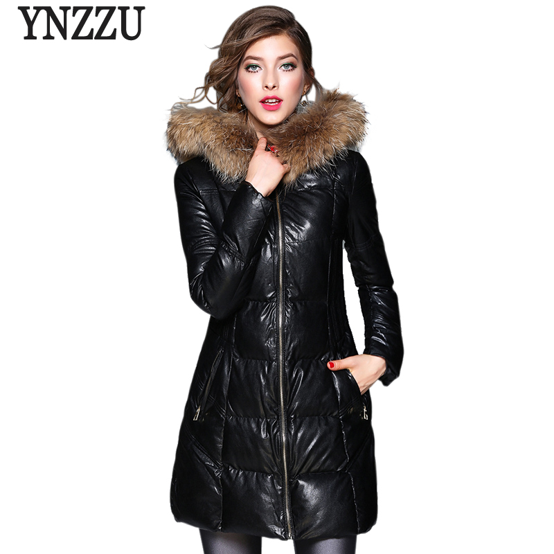 2017 Winter Women Parkas Long Elegant Slim PU Leather Bio Down Jacket Thick Warm Fur Collar Hooded Windproof Parkas AO396