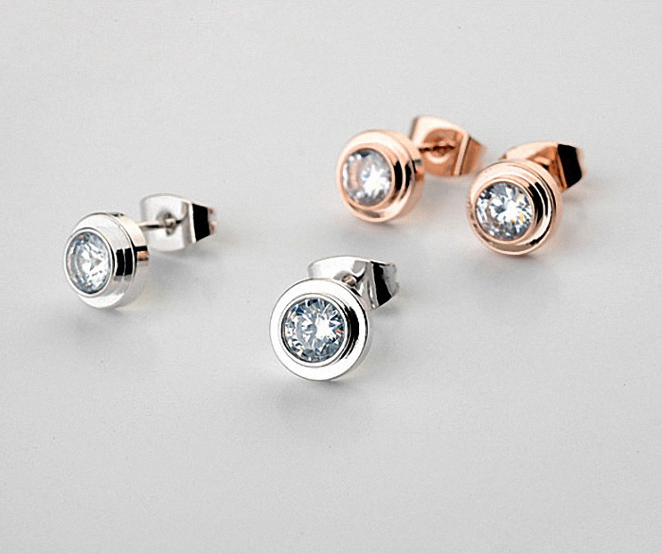 Merek TracysWing Simple Mode Trendy Stud Earrings untuk wanita Austria Kristal Warna Emas Tembaga Zirkonia # RG881142White