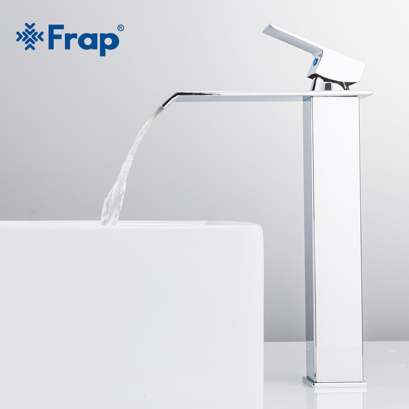 Frap New Arrival Waterfall Faucet Brass Bathroom Faucet Bathroom Basin Faucet Tall Mixer Tap Hot Cold